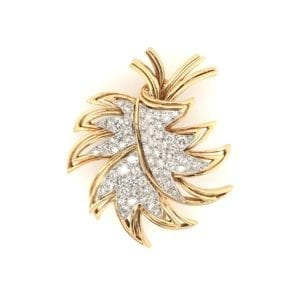 1960s Boucheron Gold Diamond Leaf Brooch