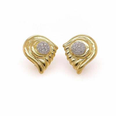Gold Diamond Fluted Plaque Earrings